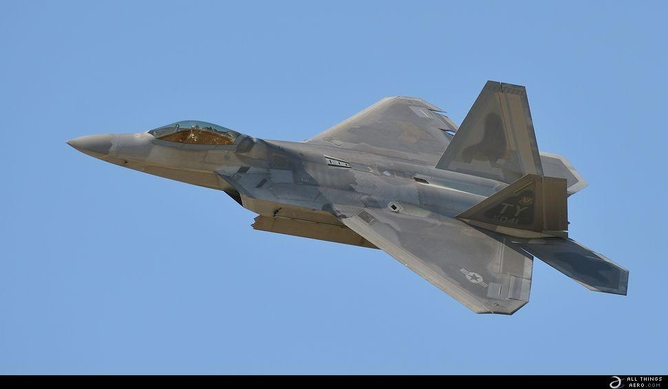Lockheed Martin F-22 Raptor at Planes of Fame Air Show n Chino, CA., May 2014.