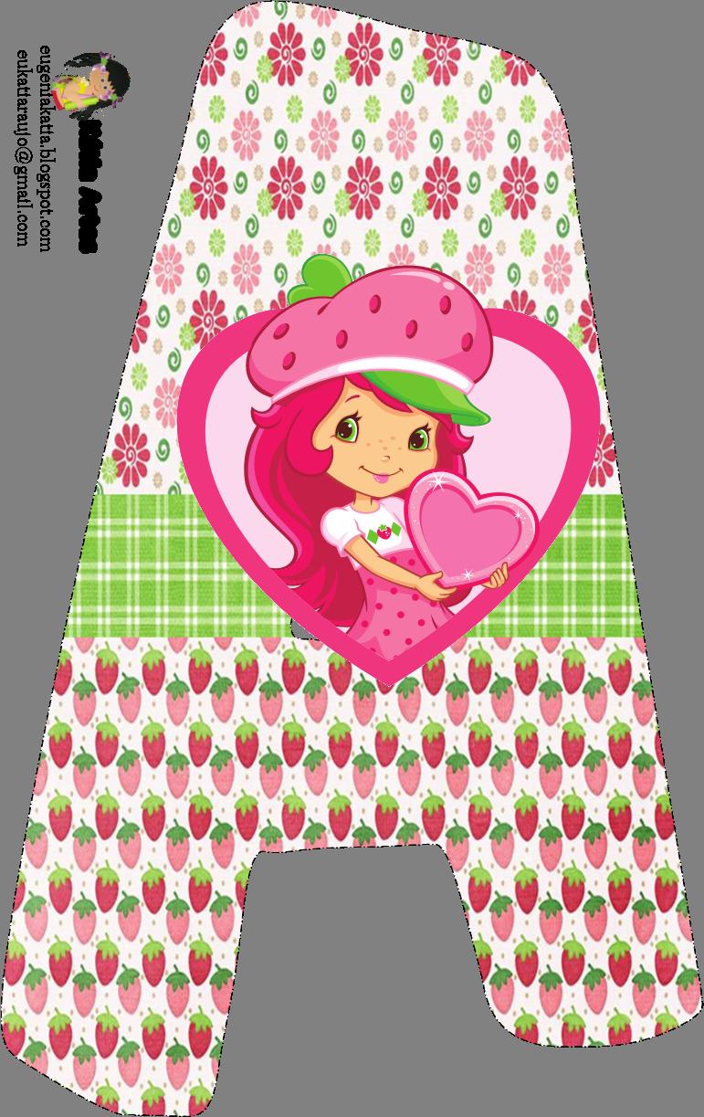 Alfabeto de Strawberry Shortcake con fresas y flores. | Ideas en ...