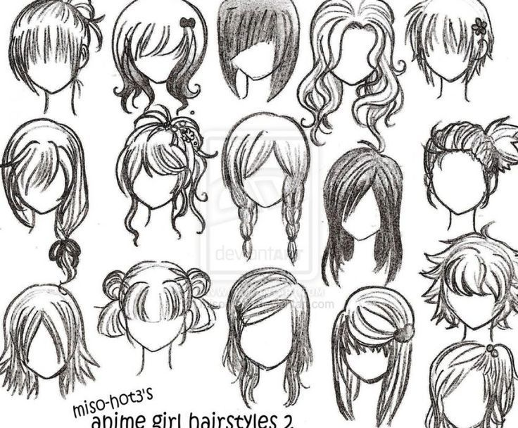 How To Draw Female Anime Hairstyles | Children drawing, Anime ...