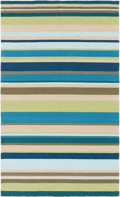 Coastal Area Rug Inspired By Sea Blue Stripes Of Blues Teals And Greens For Indoor Or Outdoor Use Area Rugs Rugs Polypropylene Rugs