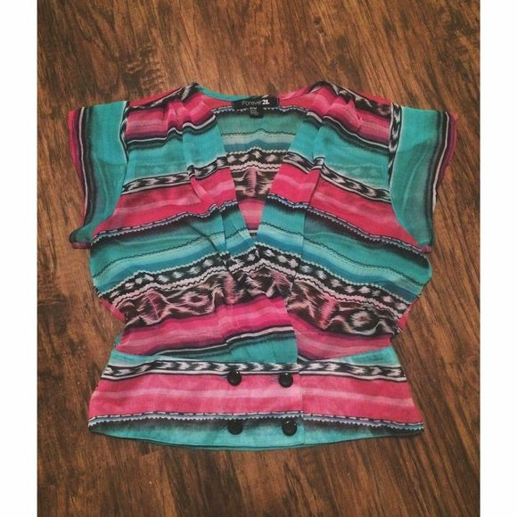 SALE - Tribal Print Top •   Forever21 Tribal print sheer blouse   • Size Medium • Excellent Condition • Buttons together at the bottom front Forever 21 Tops Blouses