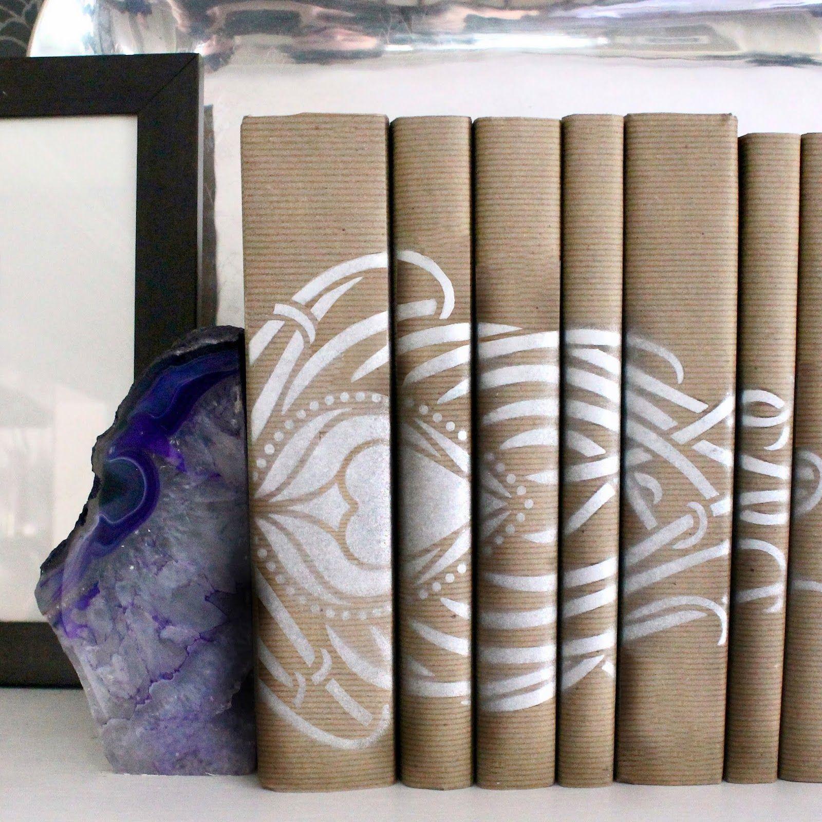 Stenciled Book Spine Art #Book #Cover #Stencil