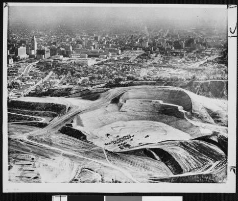 Chavez Ravine Dodger Stadium Excavation Los Angeles Examiner Collection 1920 1961 Dodgers Baseball Stadium Dodger Stadium