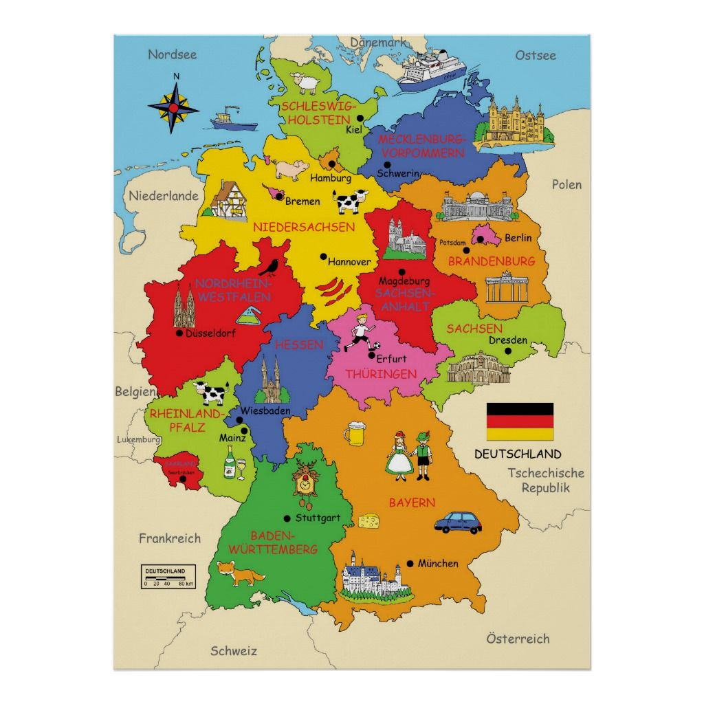 Germany Map Poster Zazzle Com Germany Learn German German