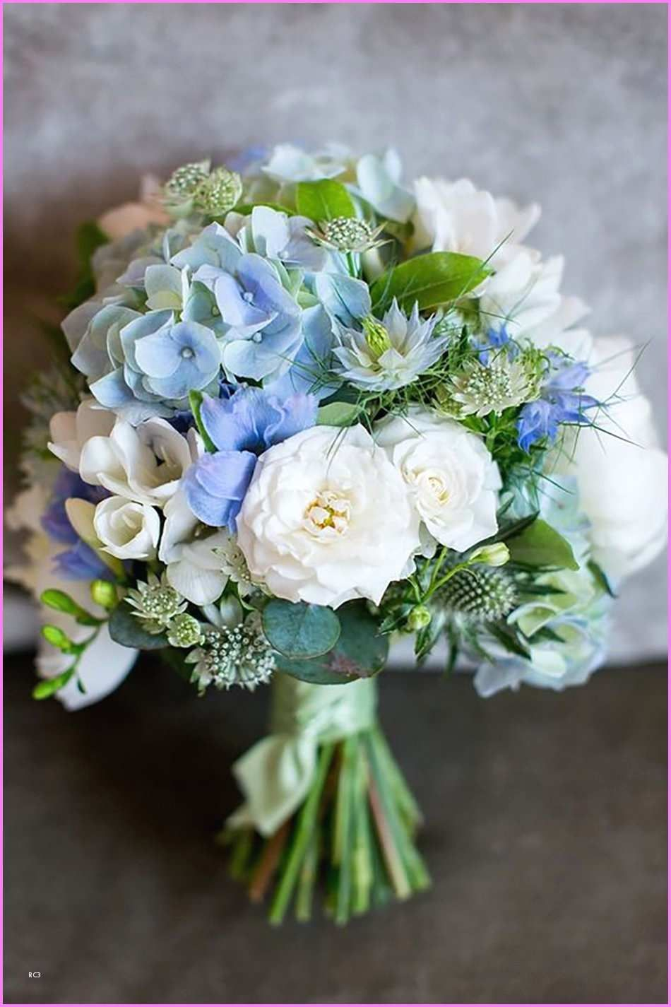Blue hydrangea and pink rose bouquet amazing pink blue and