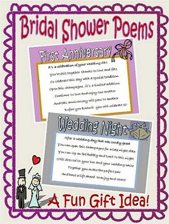 Wedding Shower Poems For Gift Cards : bridal shower poems bridal showers first anniversary anniversary ideas ...