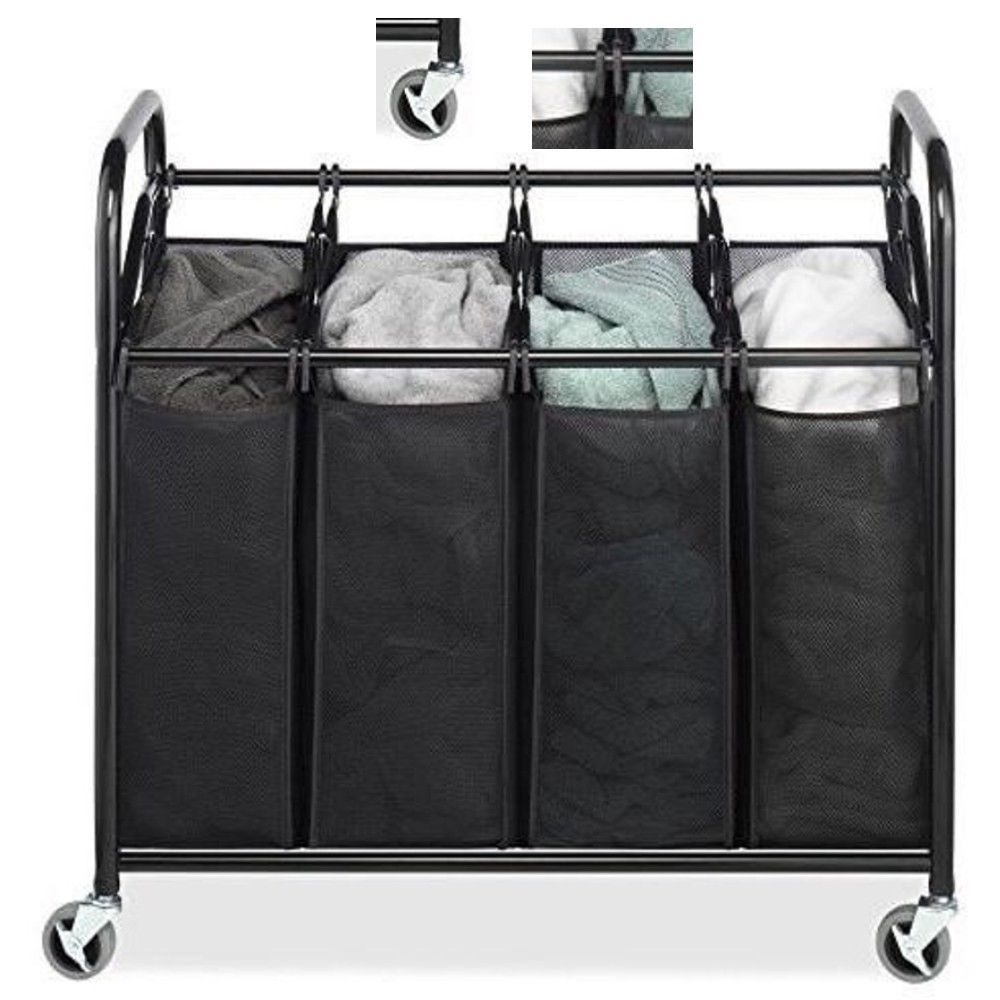 Laundry Cart Clothes Hamper Sorter Rolling Basket On Wheels Black Mesh 4 Section Laundry Sorter Whitmor Organizing Bins