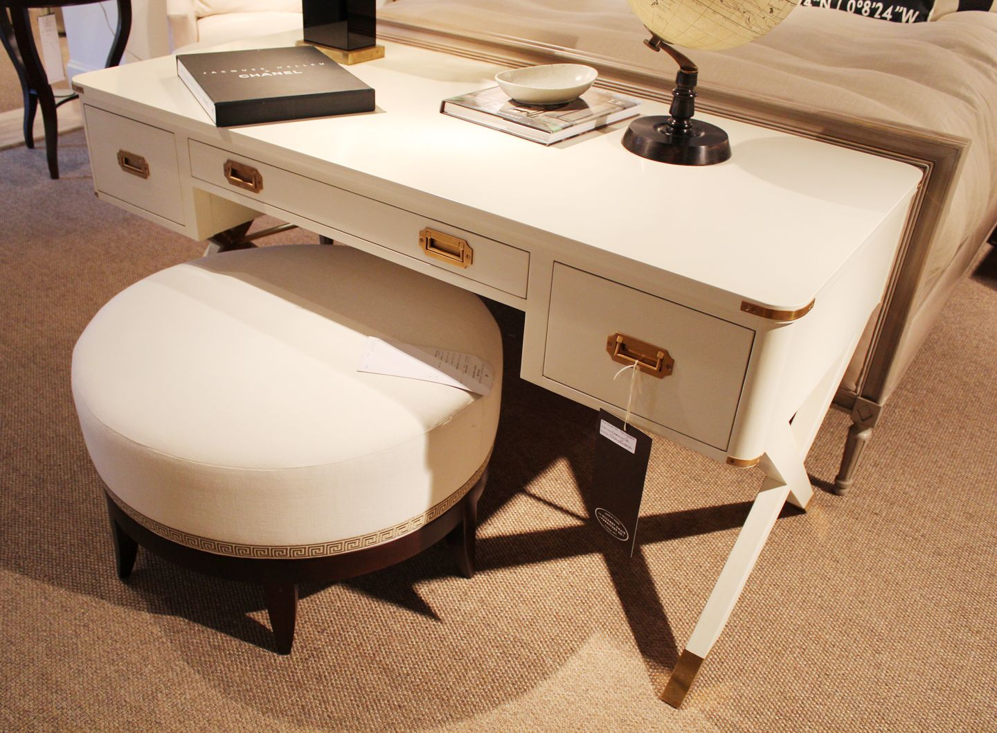 Hickory Chair By Suzanne Kasler Asheworth Campaign Desk In Cream Lacquer