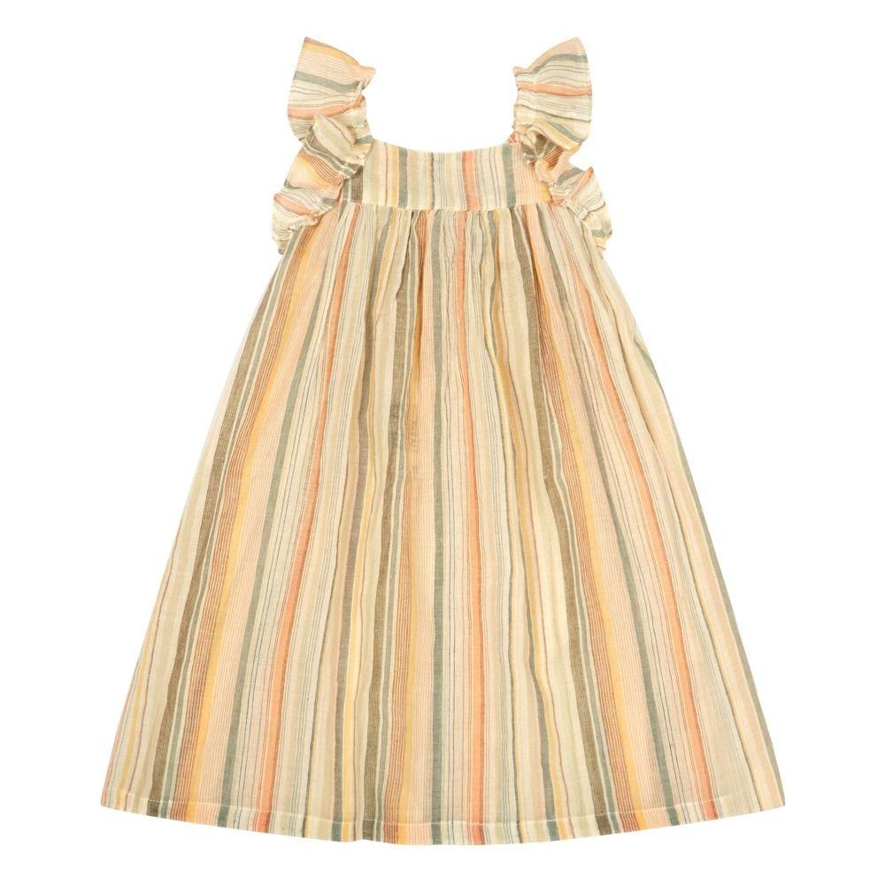 Bonton lambada ruffled stripe dress grey fiene zomer