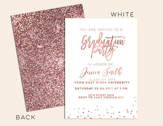 Rose Gold Graduation Invitation Rose Gold Grad Announcement Rose