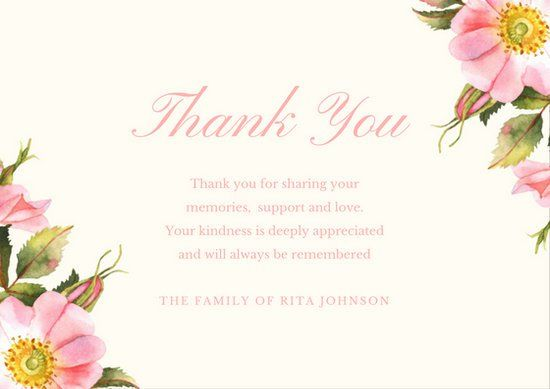 Funeral Thank You Card Templates - Canva THANK YOU Pinterest - thank you card template