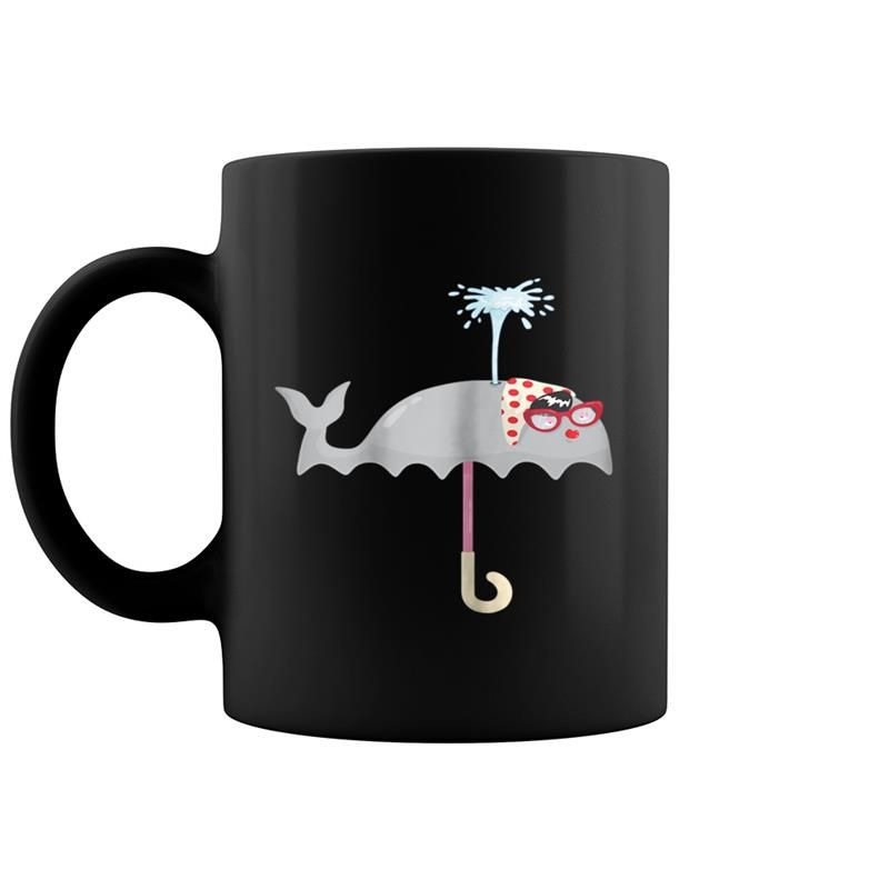 Funny Cute Umbrella Whale - Orca Beluga Whales Rain Coffee Mug 11 & 15 Oz #cuteumbrellas