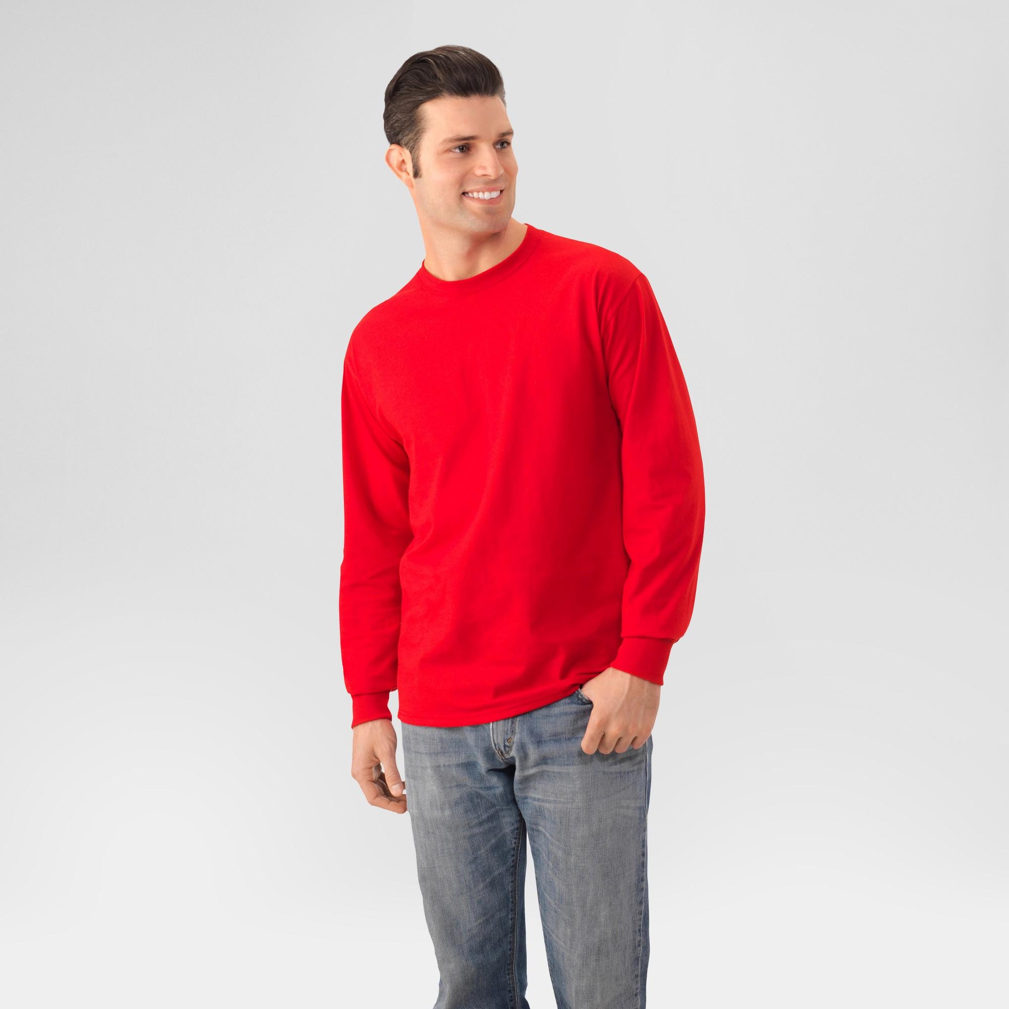 d59d57ca9fbb7 Fruit Of The Loom Men s Long Sleeve T-Shirt - True Red 2XL