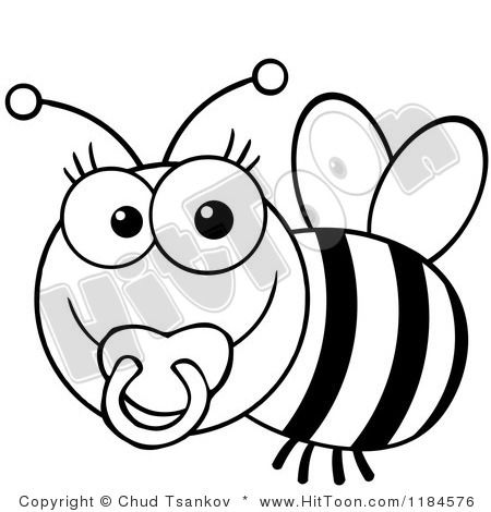 bumble bee clip art black and white 1184576 cartoon of a cute rh pinterest com au baby bird clipart black and white babies clip art black and white