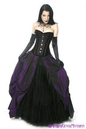 Cheap Purple And Black Wedding Dresses Corset Gothic Bridal Gown With Asymmetrical Skirt Traditional Dress As Low 12729