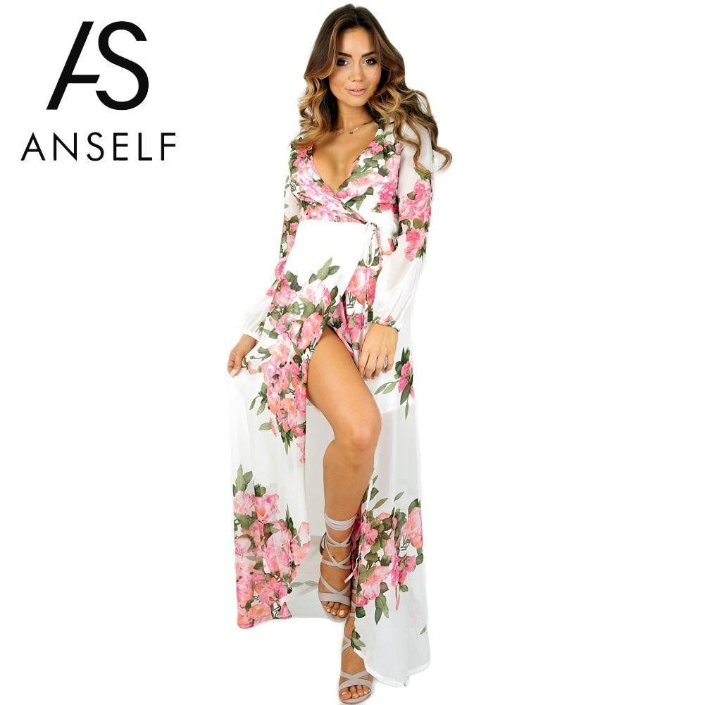927253de1ffd Anself Fashion Floral Print Summer Dress 2017 Sexy Split Women Chiffon Maxi  Dress Bohemian Long Beach Dress Casual Party Dresses