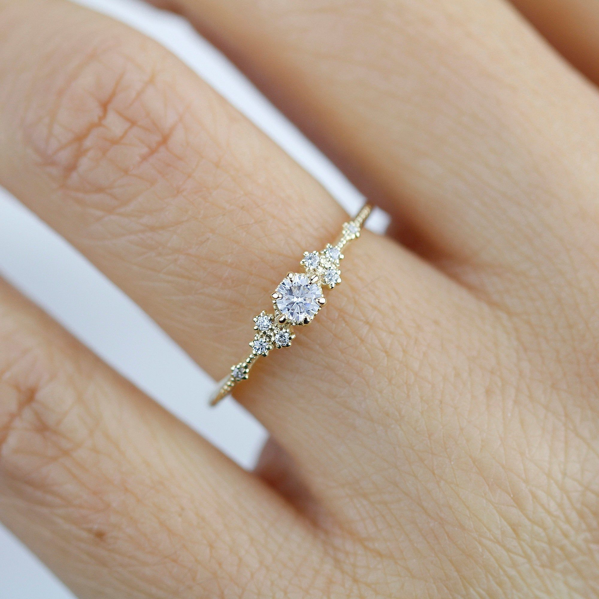 Simple Engagement Ring Engagement Ring Gold Diamond Delicate Engagement Ring Dainty Engagement Ring Minimalist Engagement Ring In 2020 Simple Engagement Rings Delicate Engagement Ring Minimalist Engagement Ring