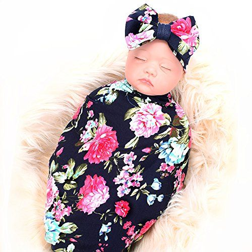 Anbaby Newborn Swaddle Blanket and Headband Baby Floral Printed