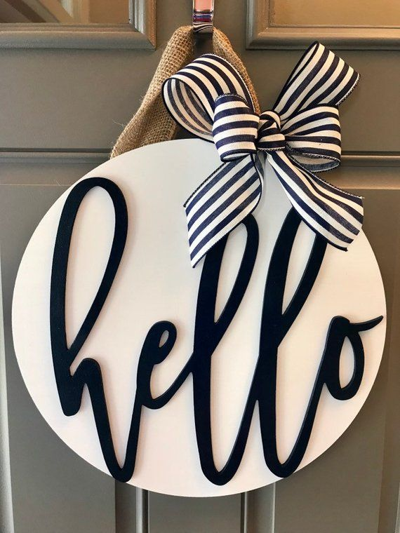 Photo of Modern Door Wreath, Front Door Decor, Blue Door Hanger, Nautical Door Hanger, Wreath For Front Door, Wood Door Sign, Round Door Hanger, Navy
