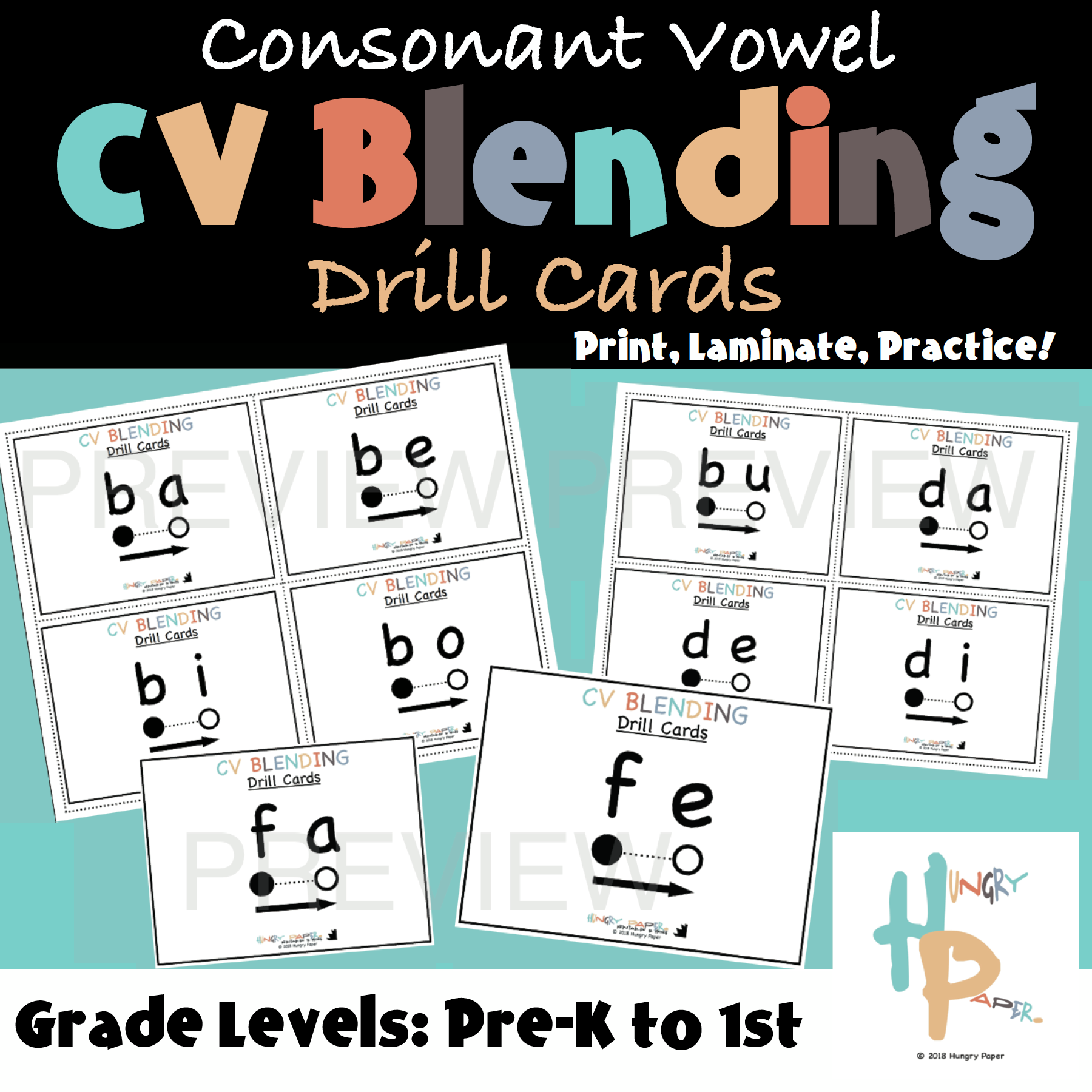 Consonant Vowel Cv Blending Drill Cards Are A Fantastic Tool To Make It Easy For Students To Begin To Read These Cards Can B Blends Activities Consonant Vowel