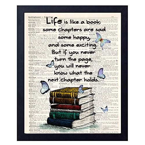 akeke Book Lover Gift Old Book Art Print, Literary Quotes