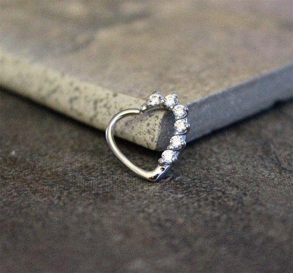 Heart Rook Earring 16G, Prong Handset Cubic Zirconia ...