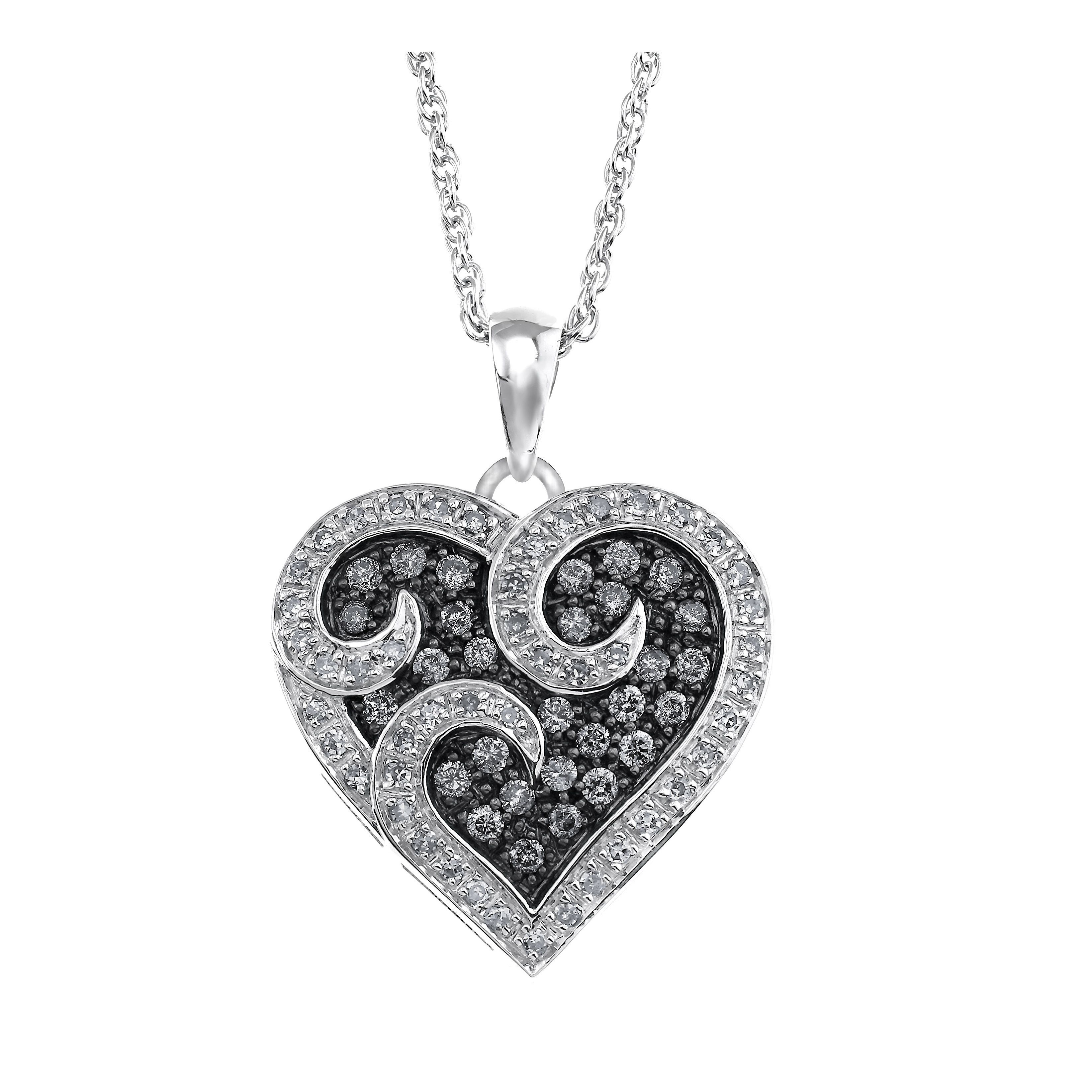 Sterling Silver 1 2ct Tdw White And Grey Diamond Heart Pendant By Ever One