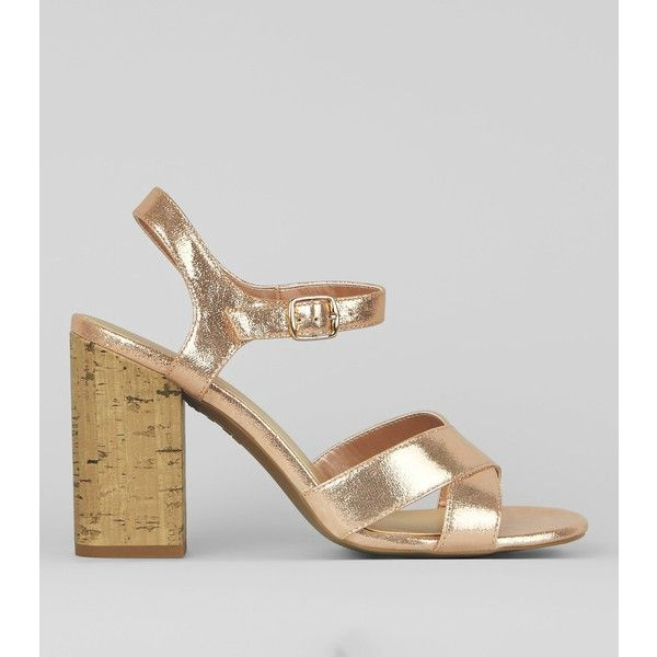 1eba071125a1 New Look Rose Gold Metallic Cross Strap Cork Block Heeled Sandals ...