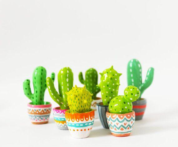 Cactus Arredamento ~ Cactus sculpture gift for gardeners hand sculpted miniature