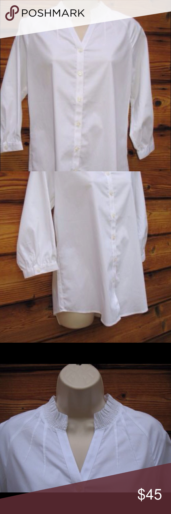 "Chico's Stretch Cotton Blend 3/4 Blouse Chico's Stretch Cotton Blend 3/4 Blousen Sleeve Blouse , New with Tags  Details: Chico's Size: 0/Small Color: White  57% Cotton/30% Polyester/3% Spandex Machine Wash  Measurements: Length: 27"" Bust: 38"" Waist: 36"" Chico's Tops Blouses"