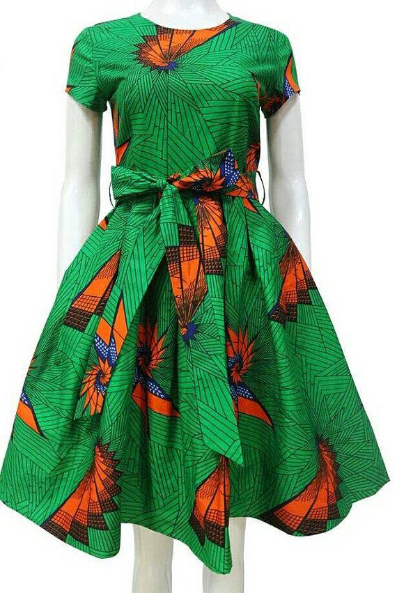 febb668c4d Dashiki ankara wax African print knee length flare dress with ...