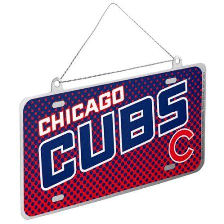 Chicago Cubs Official MLB 4 inch x 2 inch Metal License Plate Christmas Ornament by Forever Collectibles, Multicolor