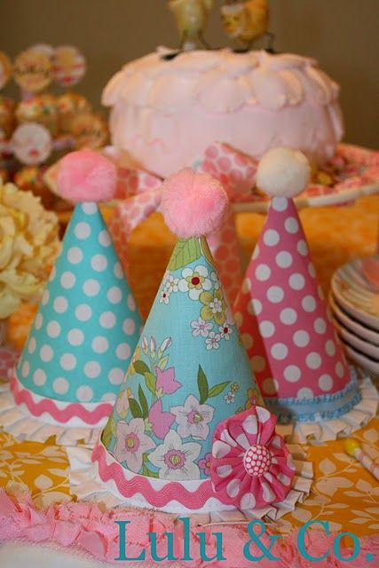 """Party hats for Grace's """"Spring Chicken 4th Birthday"""""""