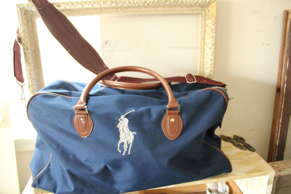 2354bf3c3d61 XL Rare POLO RALPH LAUREN Travel Gym Overnight Embroidered DUFFLE BAG NAVY  BLUE
