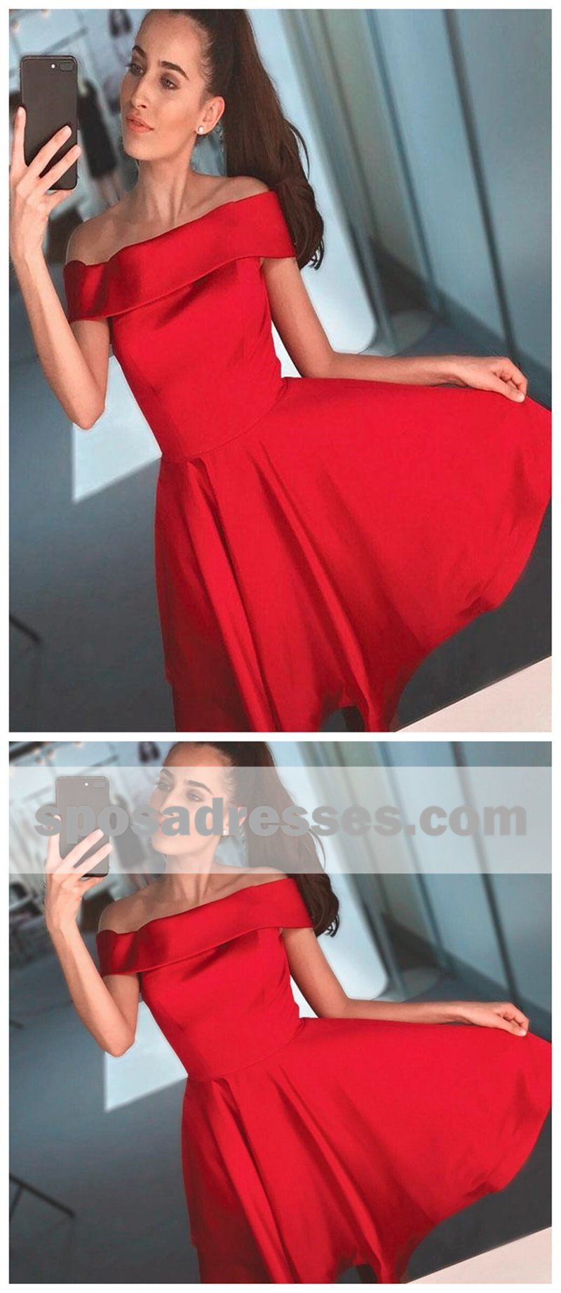 Simple red off shoulder cheap short homecoming dresses cm