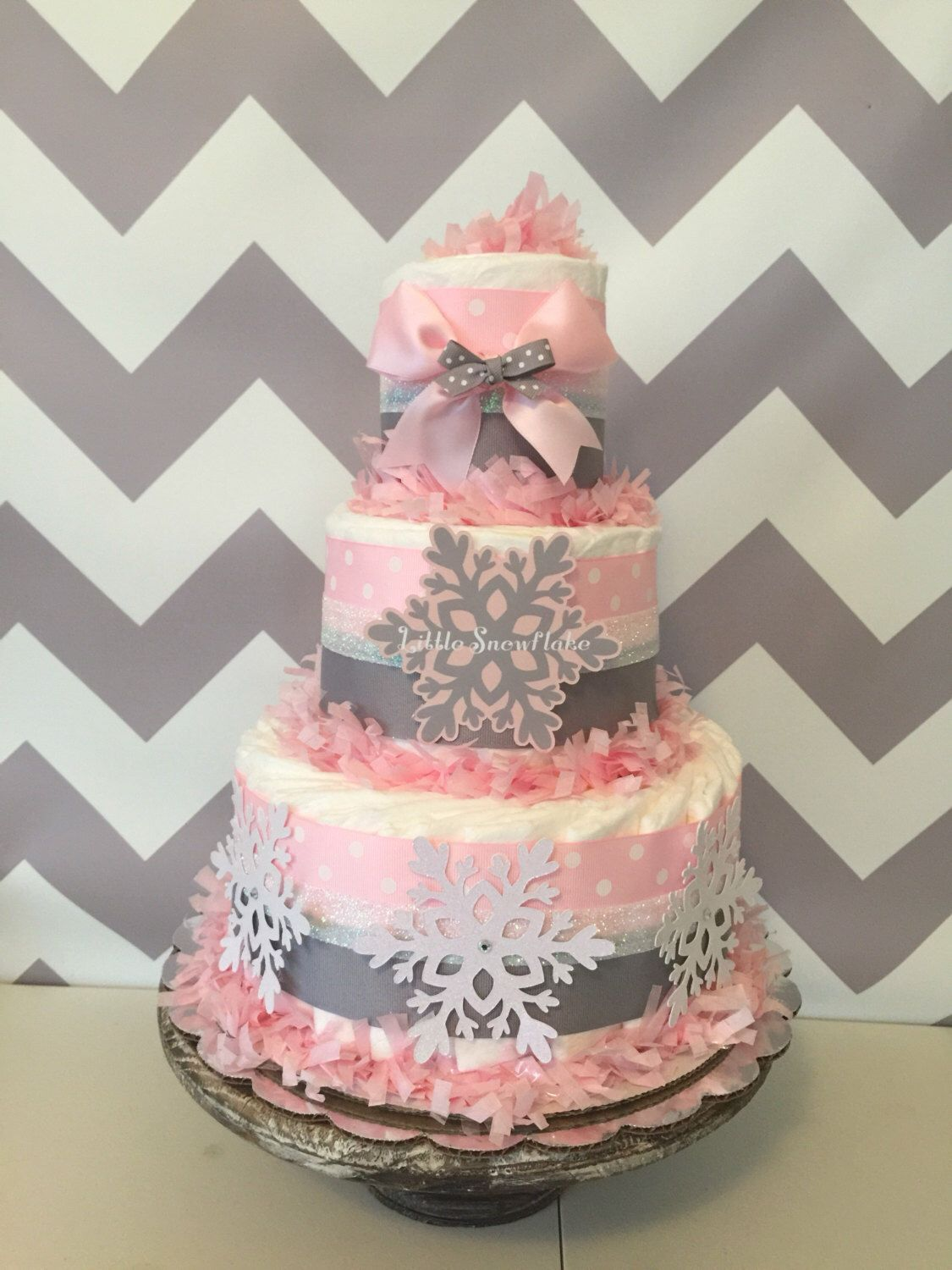 Little Snowflake Diaper Cake In Pink And Gray Winter Baby