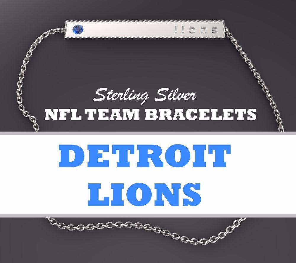 01c09ab2ea59bc HOT NEW Womens NFL Jewelry Detroit Lions Sterling Silver Bar Bracelet w   Blue CZ