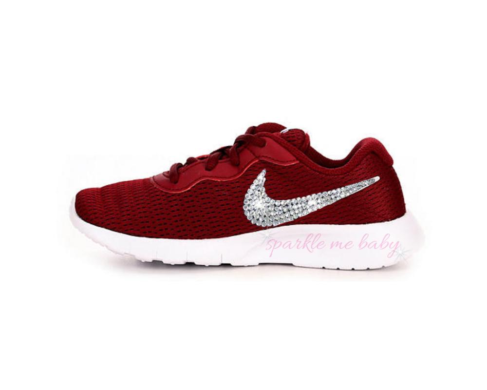 32b0aff4e76a3 Nike Tanjun Girls - Blinged Nikes - Dark Red - Crystal Girls Shoes ...