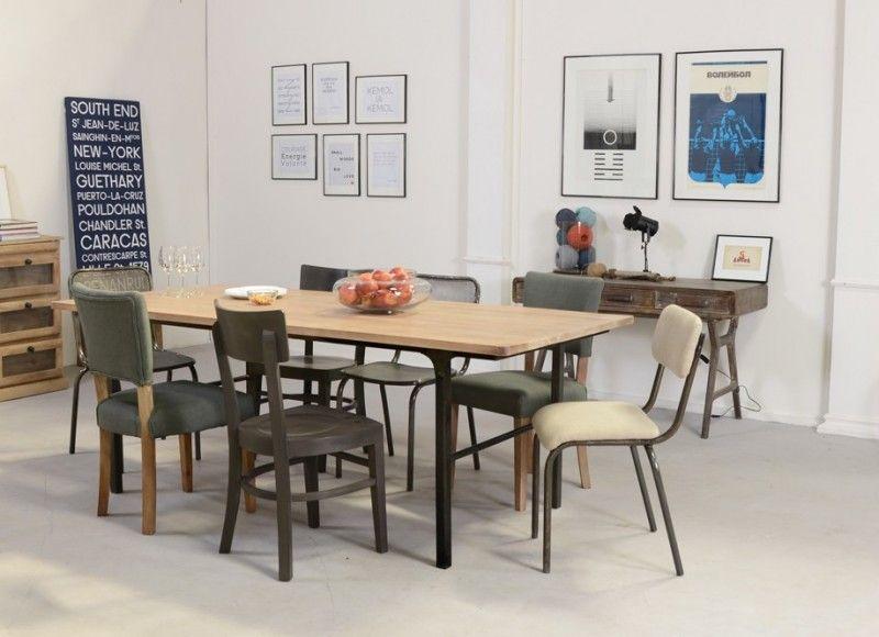 Table Style Industriel En Bois Et Metal Industriel Table Et - Table bois et metal avec rallonge pour idees de deco de cuisine