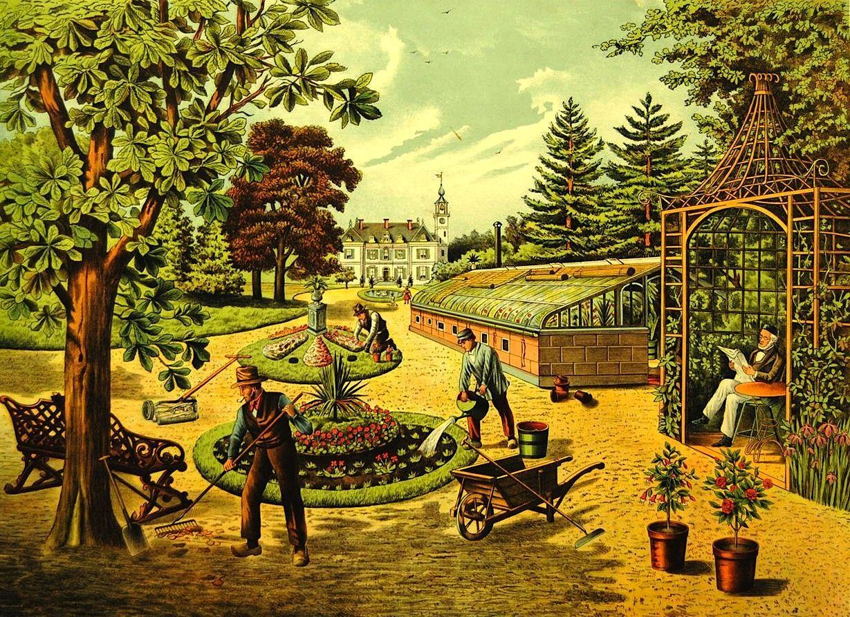 magictransistor:  Josef Hoevenaar, De tuin - Le jardin (The Garden). Van Kemink & zoon. H.J. van Lummel. c. 1915.