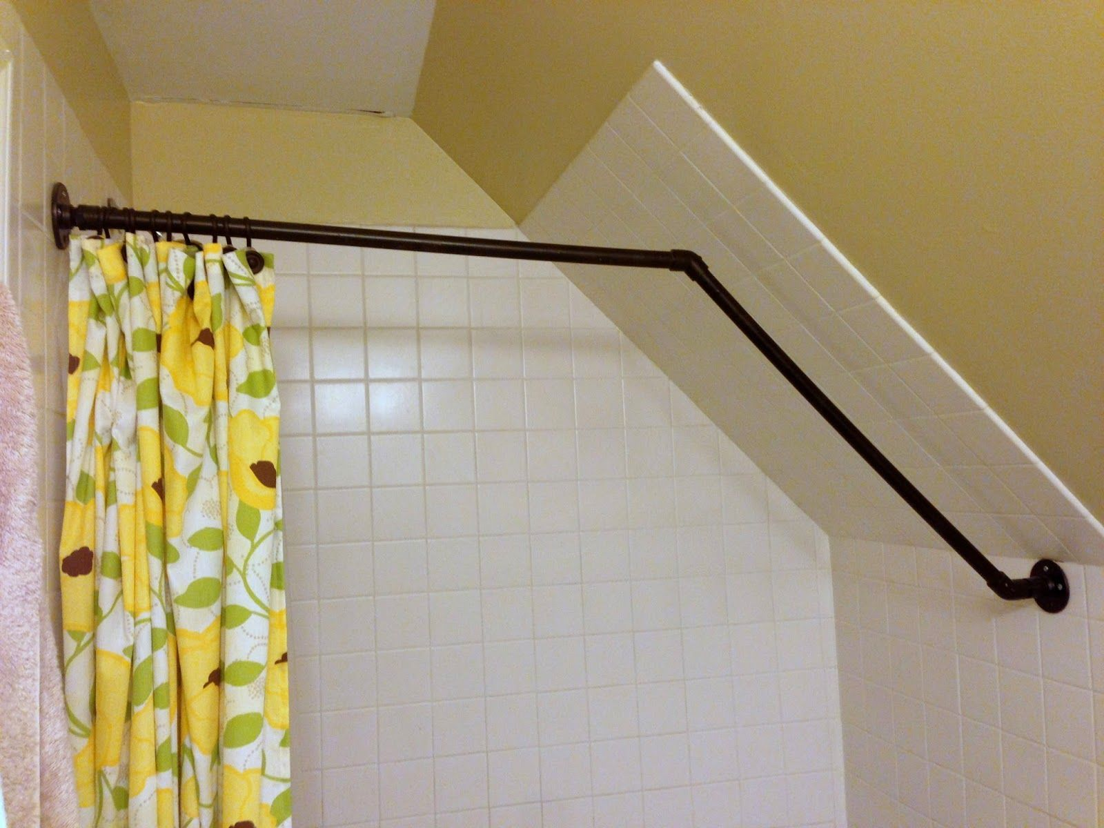 Attic Shower Curtain Rod Attic Shower Sloped Ceiling Bathroom Diy Shower Curtain