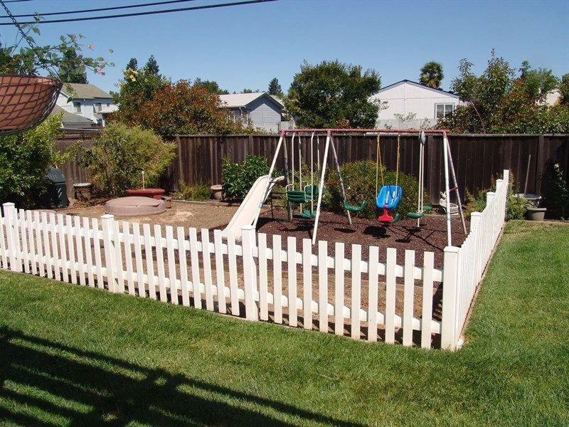 fenced play area   Play area backyard, Outdoor kids play ...