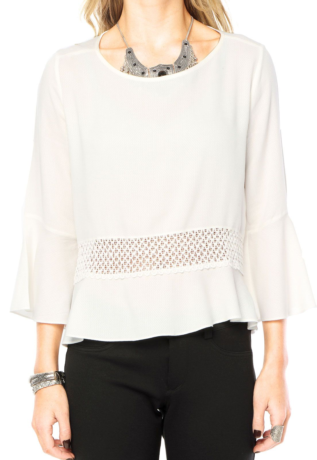 Blusa Canal Sino Off-White - Marca Canal