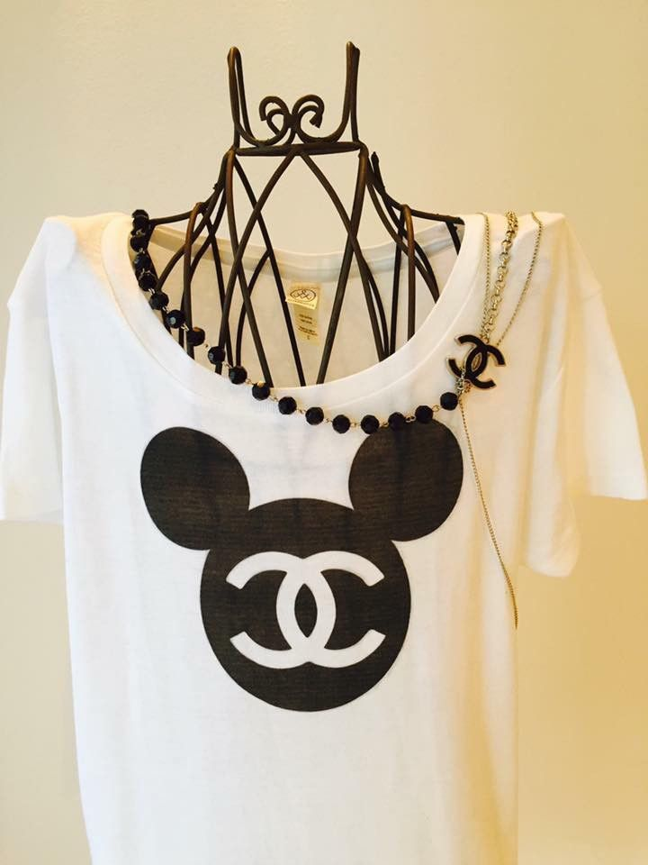 White Chanel Logo Cotton Mickey Mouse T Shirt All Items