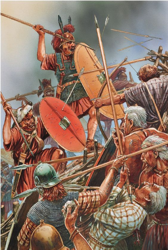 Roman Legionaries Battle Celt Gaulic Warriors In The Time Of Gaius Julius Caesar 1st Cent B C Illustration Historique Histoire Romaine Soldats Romains