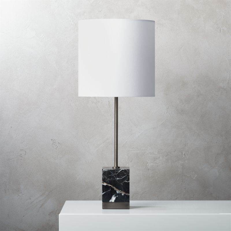 Shop Sharp Black Marble Table Lamp Block Of Modern Black Marble Anchors Table Lamp Base Giving This Sleek Silh In 2020 Marble Table Lamp Table Lamp Black Table Lamps