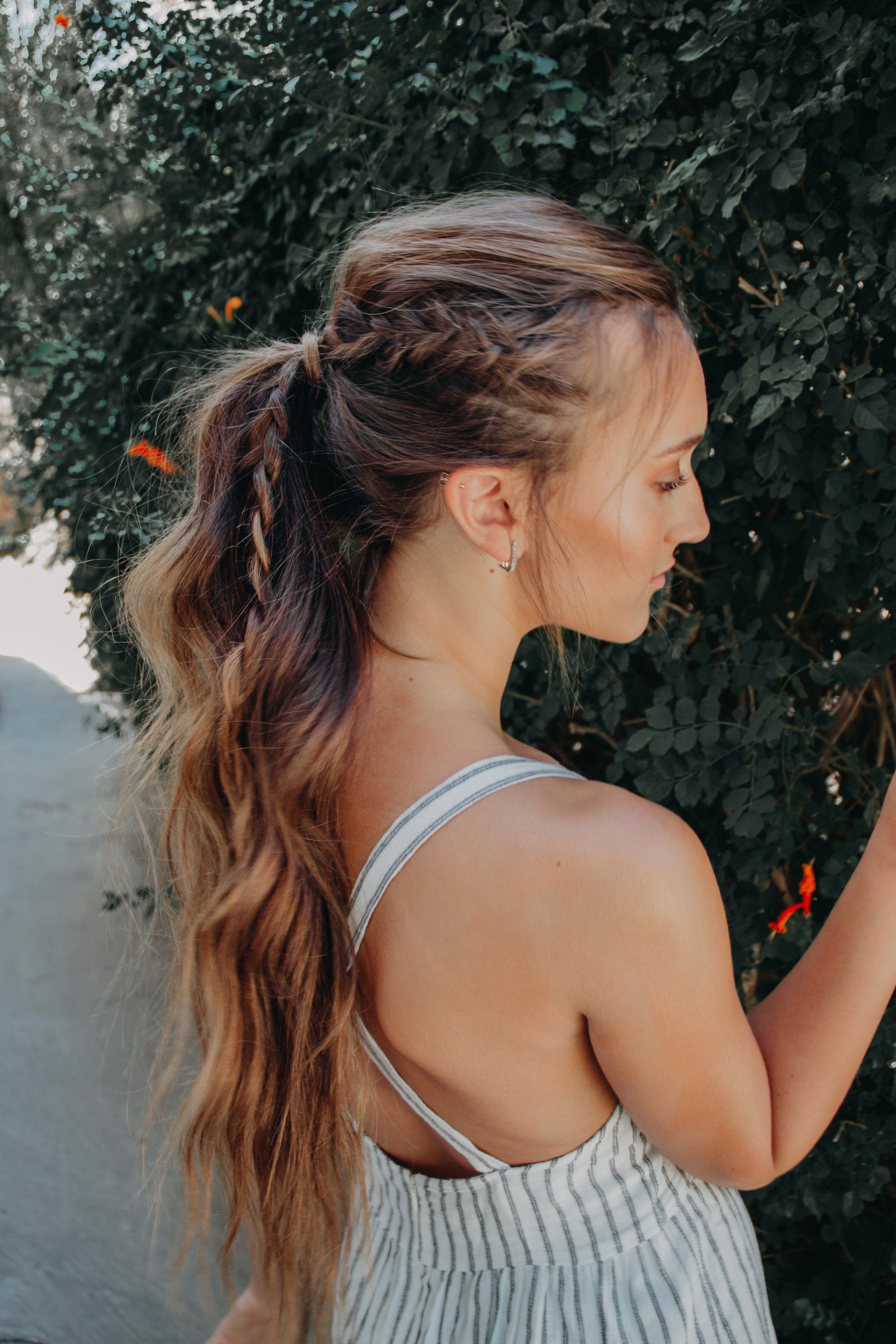 high ponytail bohemian hairstyle for long hair with a braid. messy and easy beach waves… | Boho hairstyles for long hair, High ponytail hairstyles, Long hair styles
