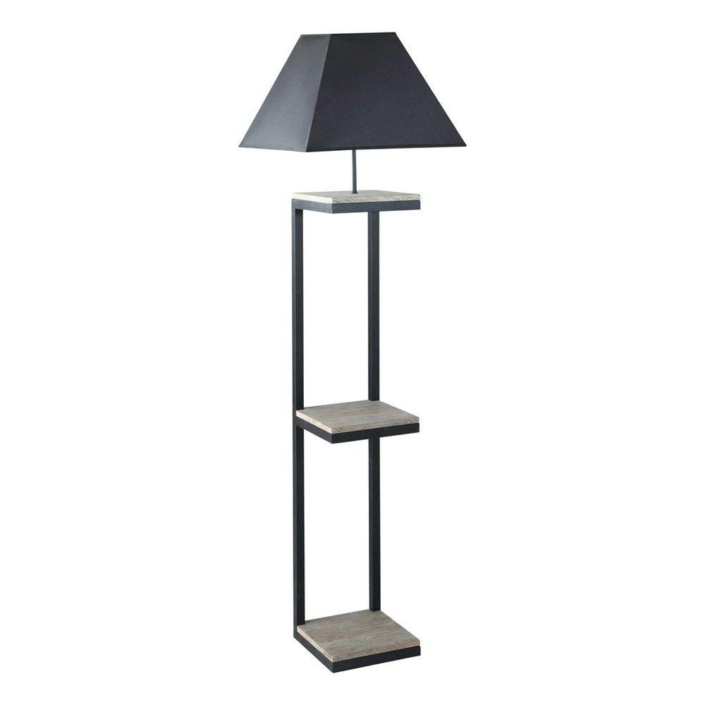 Stehleuchte aus Metall und Tannenholz mit Lampenschirm aus