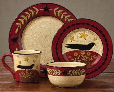 Folk Crow Dinnerware Set Of 4 Place Settings Primitive