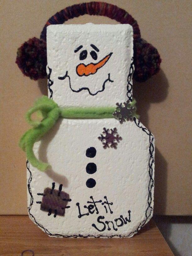 Left Over Paver Block Turned Snowman Brick Crafts